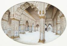 Mughal School, circa 1830/The Diwan-i-Khas or Hall of Private Audiences, Red Fort, Delhi/watercolour on ivory, 13cm x 20cm/see illustration