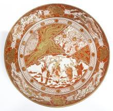 A Japanese Kutani saucer dish, Meiji period, signed Dai Nippon Kutani Yeiraku Tsukuro, 39cm diameter