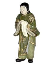 An Oriental lacquered papier-mâché figure of a servant, standing with hands clasped, 35.5cm high/Note: Inscribed 50543, Japan, V Linden-Warner/see illustration
