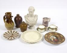 A Copeland Parian bust, by Marshall Wood, marked Crystal Palace Art Union, 31cm high, a pottery puzzle jug, a Vienna style plate, a Satsuma plate and sundry ceramics