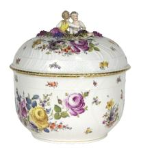 A large German porcelain circular tureen and cover, Potschappel, circa 1900, 33cm high/see illustration