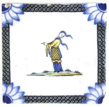 A Liverpool Delft tile, 1750 - 75, decorated an Oriental figure with blue flower heads at the corners, 13cm x 13cm/Literature: Archer (M) Delftware, 1997, p 500 fig 357/see illustration