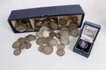 A collection of pre 1921 silver coins, shillings, florins and half-crowns, approximately 950gm