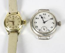 An Omega wristwatch with subsidiary dial, lacking strap and an Omega Seamaster wristwatch
