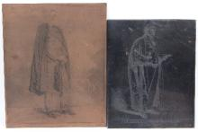 George Belcher RA (British 1875-1947)/three signed copper etching plates dated 1917, two of boxing interest, 'A Darling of the National Sporting Club', 'Peggy of the National Sporting Club' and an untitled full-length portrait of a gentleman; with a steel etching plate of Sir Edward Marshall Hall K.C. the English barrister who defended many notorious murderers/42cm x 34cm