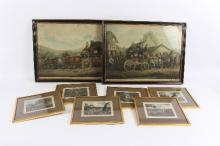 Two 19th Century Coaching prints/four Fox Hunting scenes and a gilt picture frame with mounted buttons