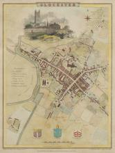 J Roper after G Cole/City Plan of Gloucester 1805/with vignette view of the Cathedral from the north west/later coloured engraving, plate size 23.5cm x 18cm