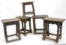 Five oak joint stools, one 17th Century, the rest later, the largest 48cm wide