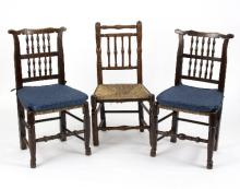 A pair of 19th Century rush seat spindle back chairs, another similar, a pair of 19th Century rush seat ladder back chairs and another similar (6)