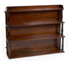 A mahogany hanging shelf with turned supports to the graduated shelves, 91.5cm wide