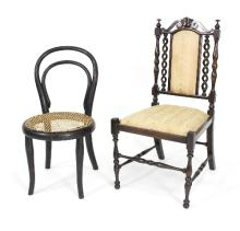 A child's early 20th Century chair with upholstered seat and padded back, a child's bentwood chair and an oval gilt brass fire screen