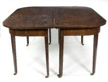 An early 19th Century mahogany dining table with two D ends on square taper legs, 140cm wide