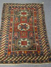 A Kazak rug, 163cm x 112cm and another rug 195cm x 129cm