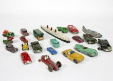 A small group of Dinky Toy, Triang cars and others, to include a Spot-On Jaguar XK SS, Dinky Austin Healey and a Triang model of the Queen Mary