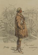 Charles 'Snaffles' Johnson Payne (British 1884-1967)/The Gunner/circa 1916/printed and handcoloured, with blind stamp, 43.5cm x 35cm