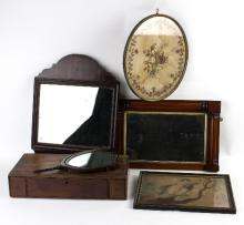 Two 19th Century mahogany framed wall mirrors, the largest 58cm high, a 19th Century needlework picture, a stipple engraving and the base for a dressing mirror