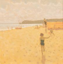 Stephen Brown (British, born 1947)/Seascape/with children playing on the sand/initialled SB lower left/oil on canvas, 24.5cm x 24.5cm/Provenance: purchased from Blake Gallery, Crewkerne 1988