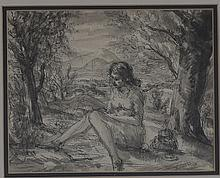 Gerald Ososki/Seated Nude in a Landscape/signed