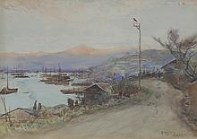 Alfred East/Japanese Port/signed and inscribed in