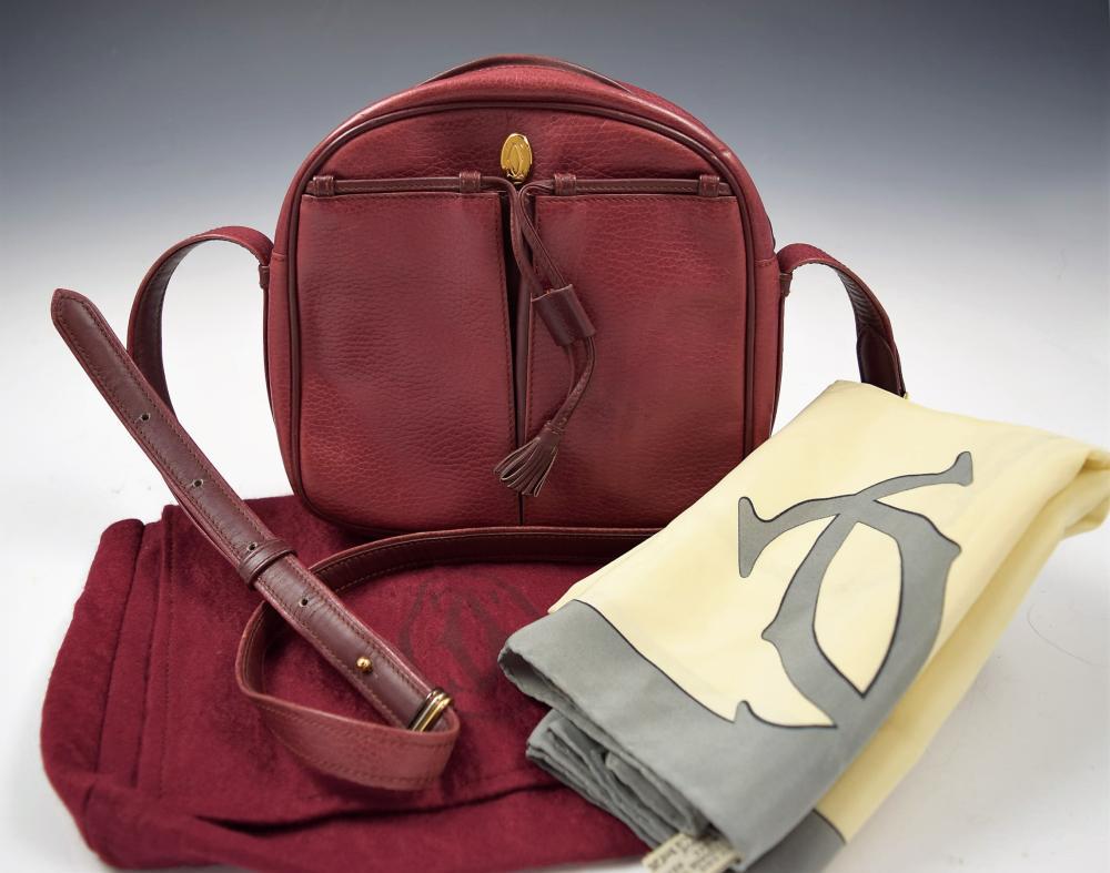 Vintage Cartier Handbag with Cartier Silk Scarf