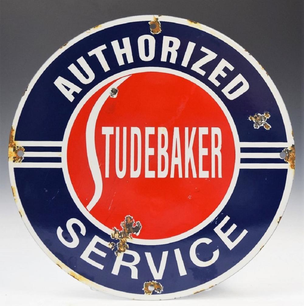Authorized Studebaker Service Porcelain Sign
