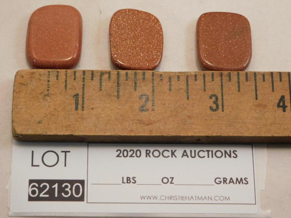 GOLDSTONE POLISHED ROCKS 3 PIECES