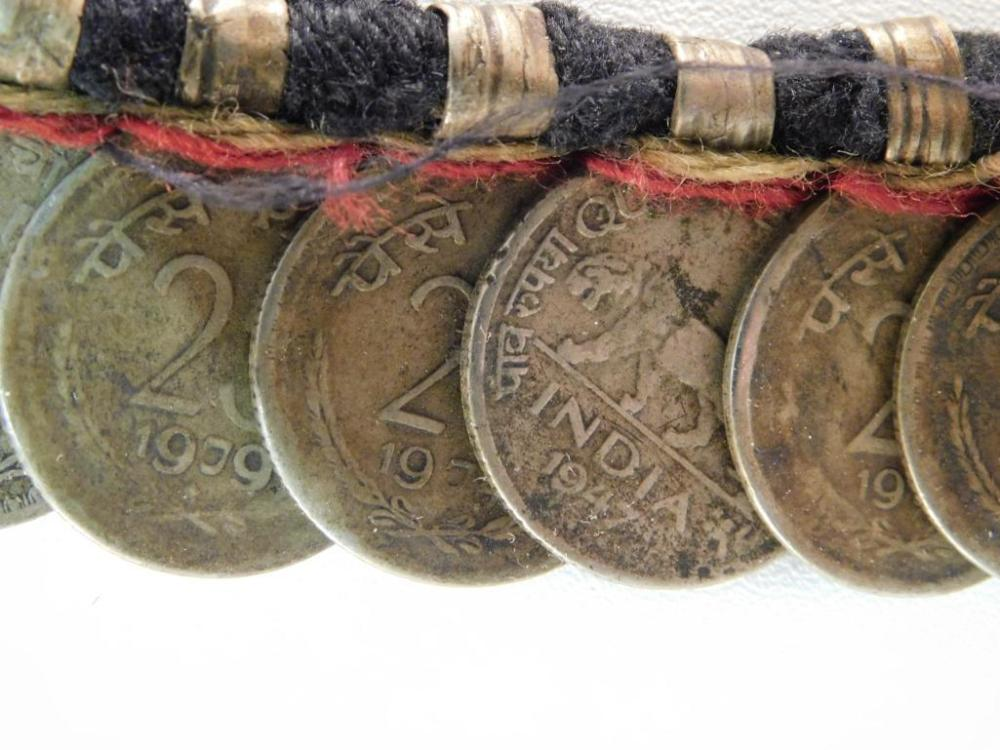 CEREMONIAL INDIA COIN TRADE BEADS WITH COINS
