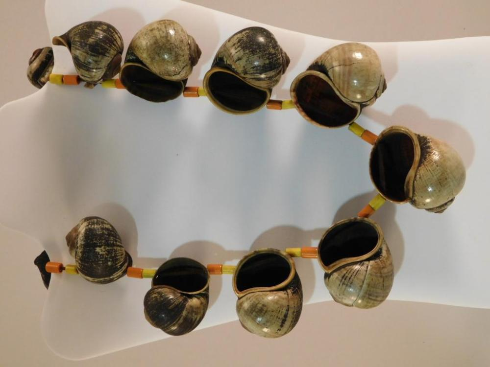 AFRICAN TRADE BEAD NECKLACE WITH SHELLS