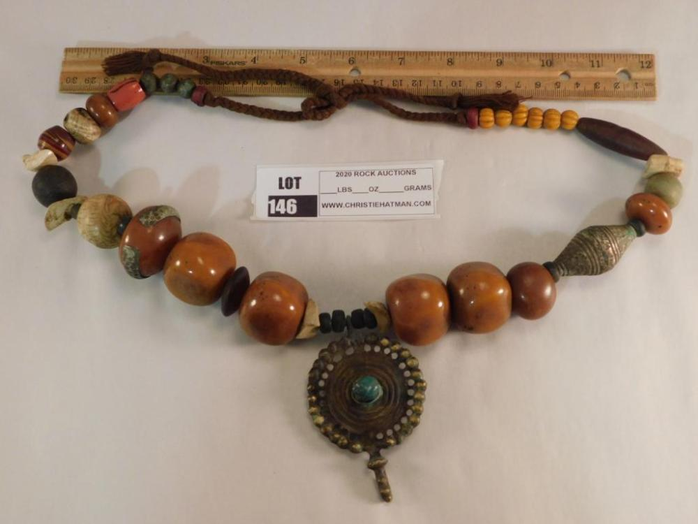 RESIN BEADS ORNATE CEREMONIAL AFRICAN TRADE BEADS