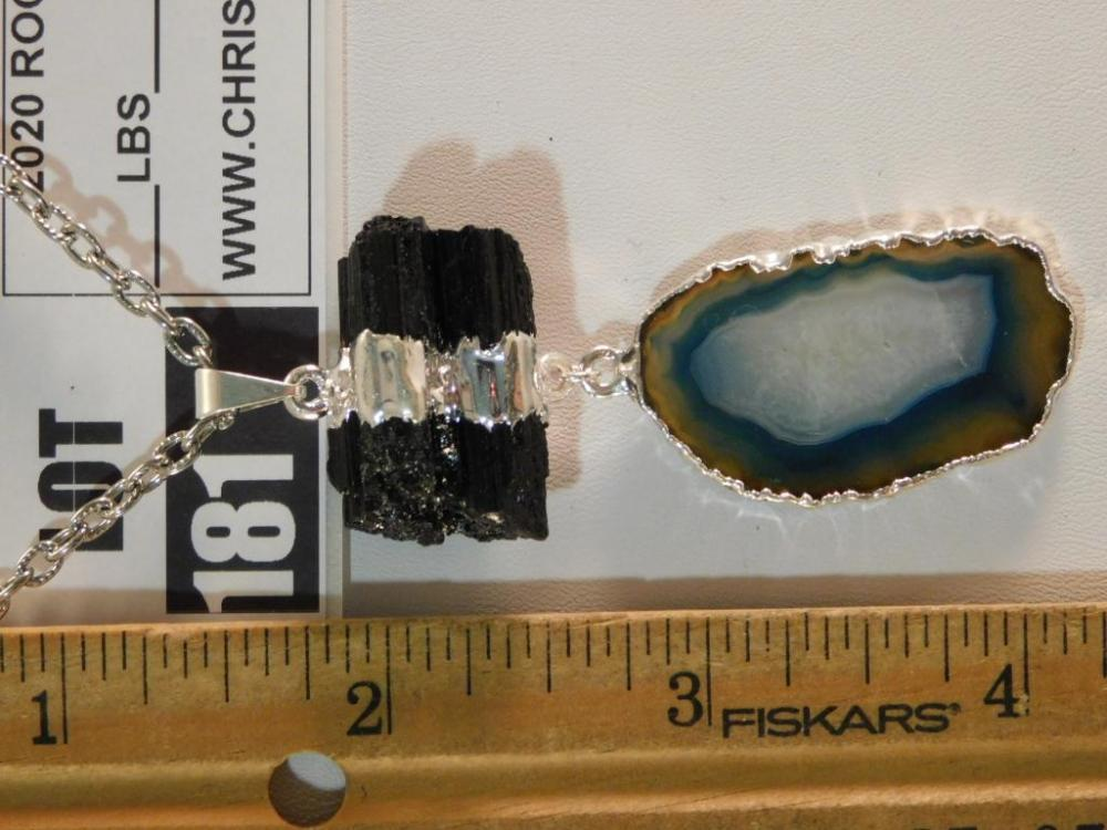 AGATE SLICE AND TOURMALINE PENDANT ON CHAIN