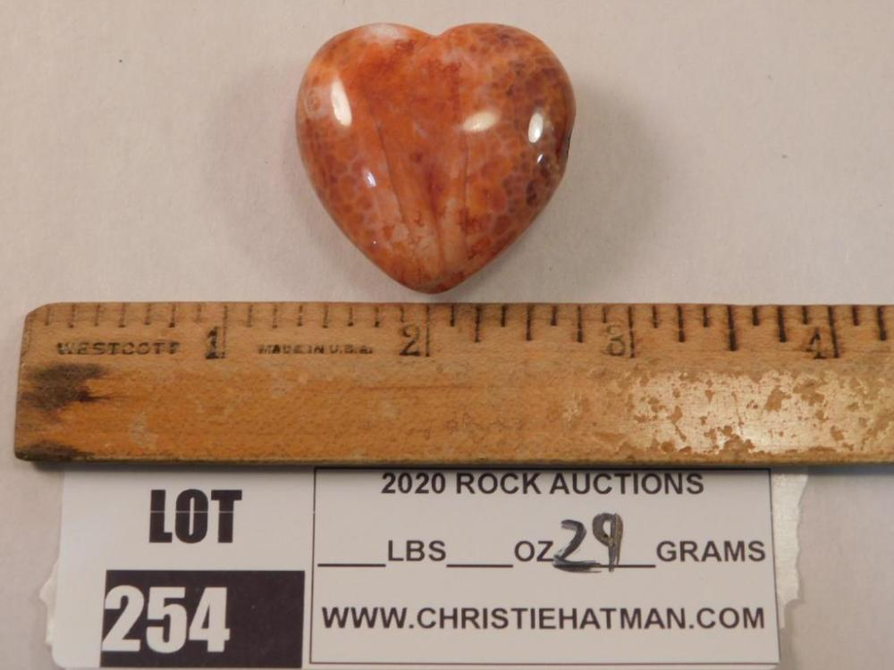 FIRE AGATE POLISHED HEART ROCK STONE LAPIDARY SPECIMEN