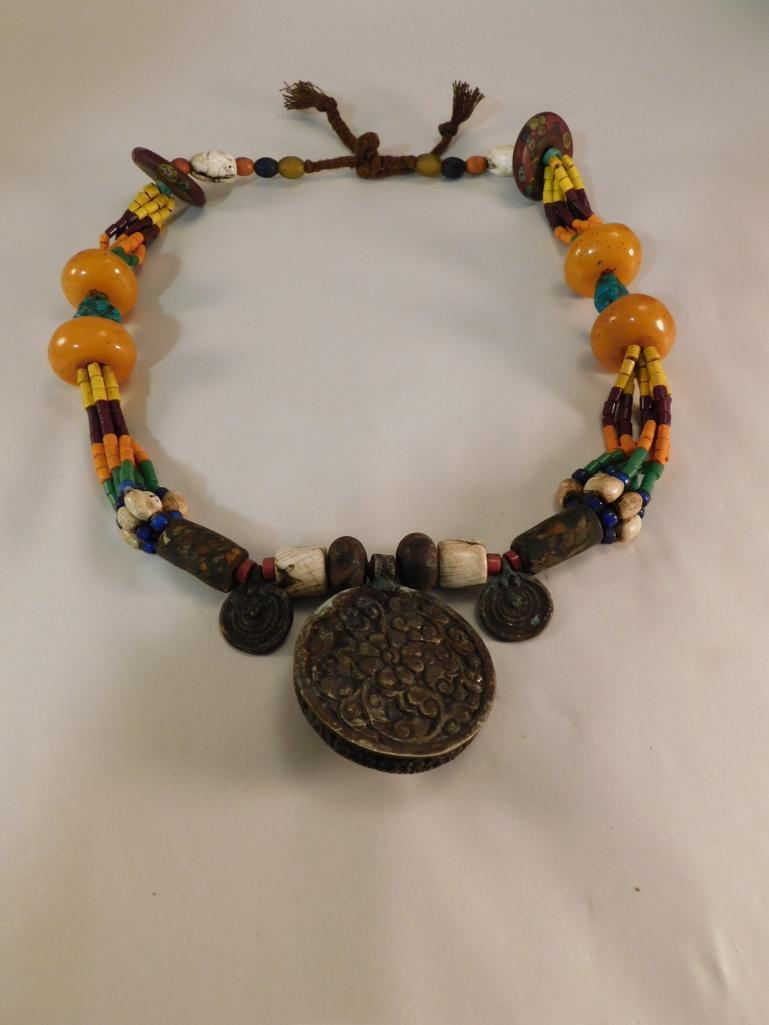 ORNATE CEREMONIAL AFRICAN TRADE BEAD NECKLACE