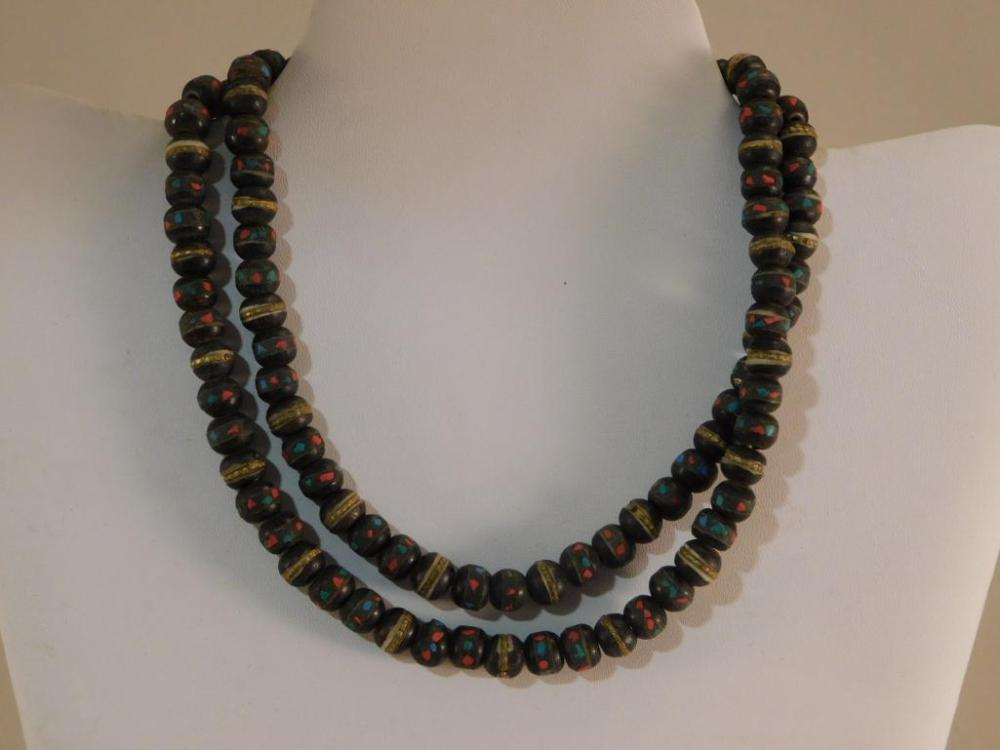 AFRICAN TRADE BEADS BONE WITH STONE INLAY
