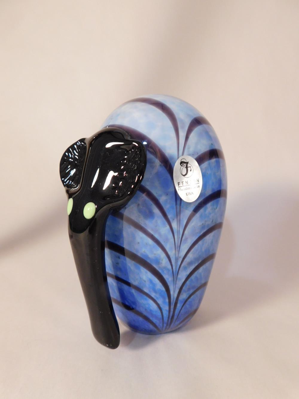 Fenton Art Glass USA Hand Painted and Signed DAVID FETTY ELEPHANT See Photo