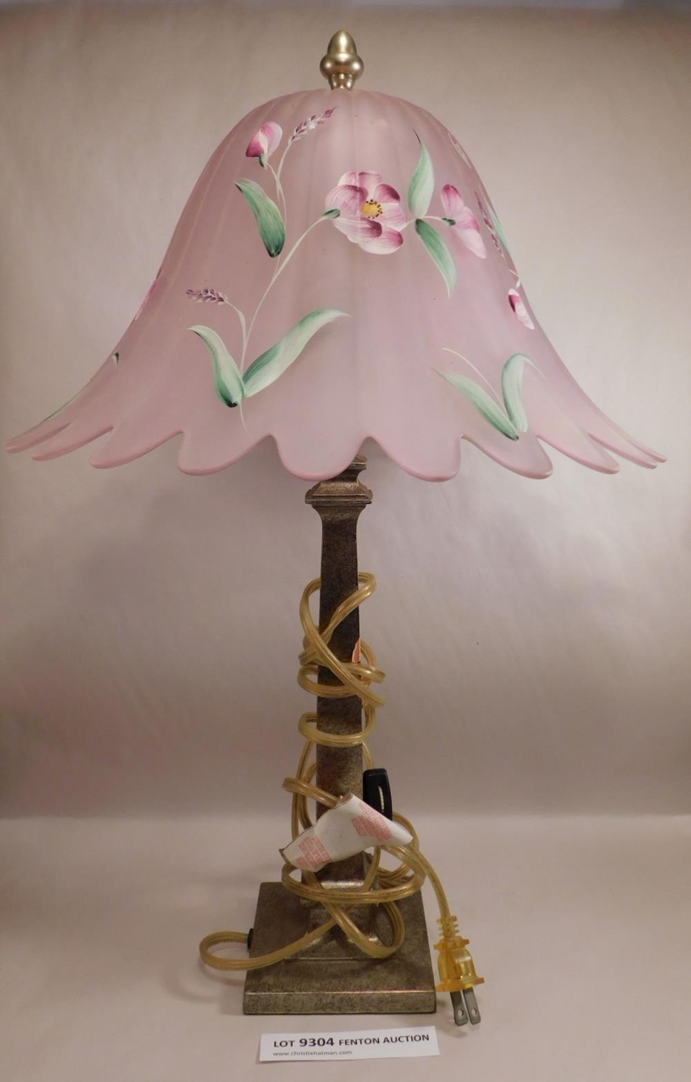 Fenton Art Glass USA LAMP Hand Painted and Signed See Photo