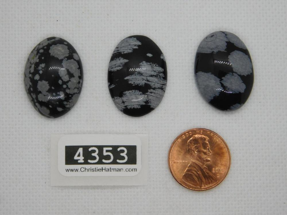 SNOWFLAKE OBSIDIAN CABOCHONS ROCK STONE LAPIDARY SPECIMEN