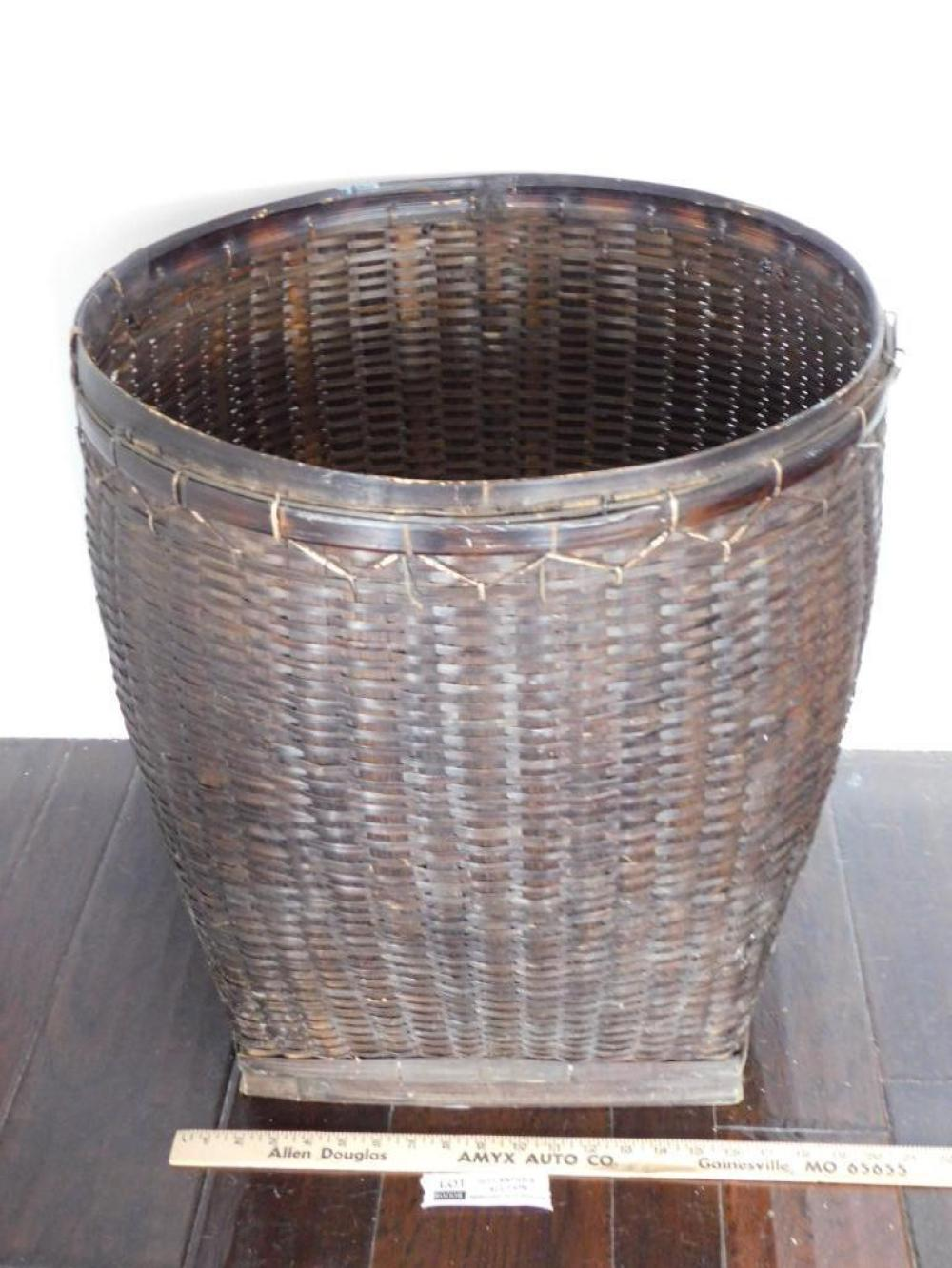BASKET 23 INCHES TALL SQUARE BOTTOM PRIMITIVE VINTAGE ANTIQUE NEW ENGLAND