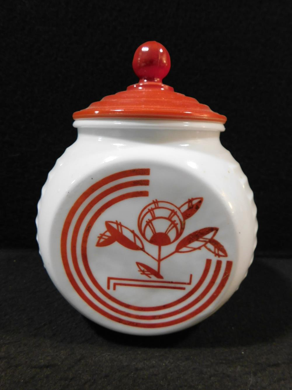 MID CENTURY CANNISTER RED WHITE