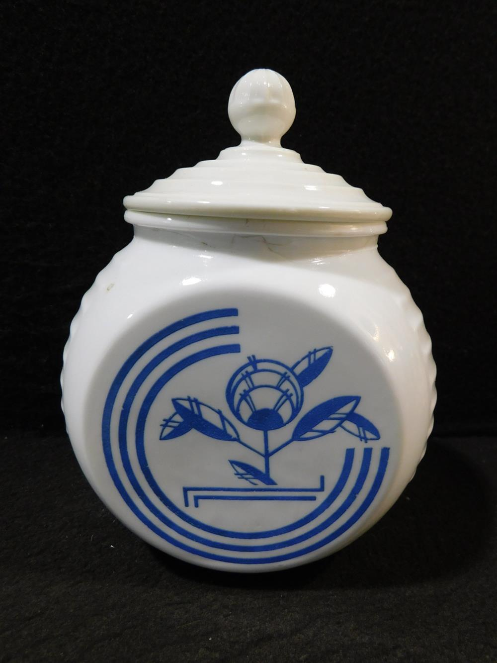 MID CENTURY CANNISTER BLUE WHITE