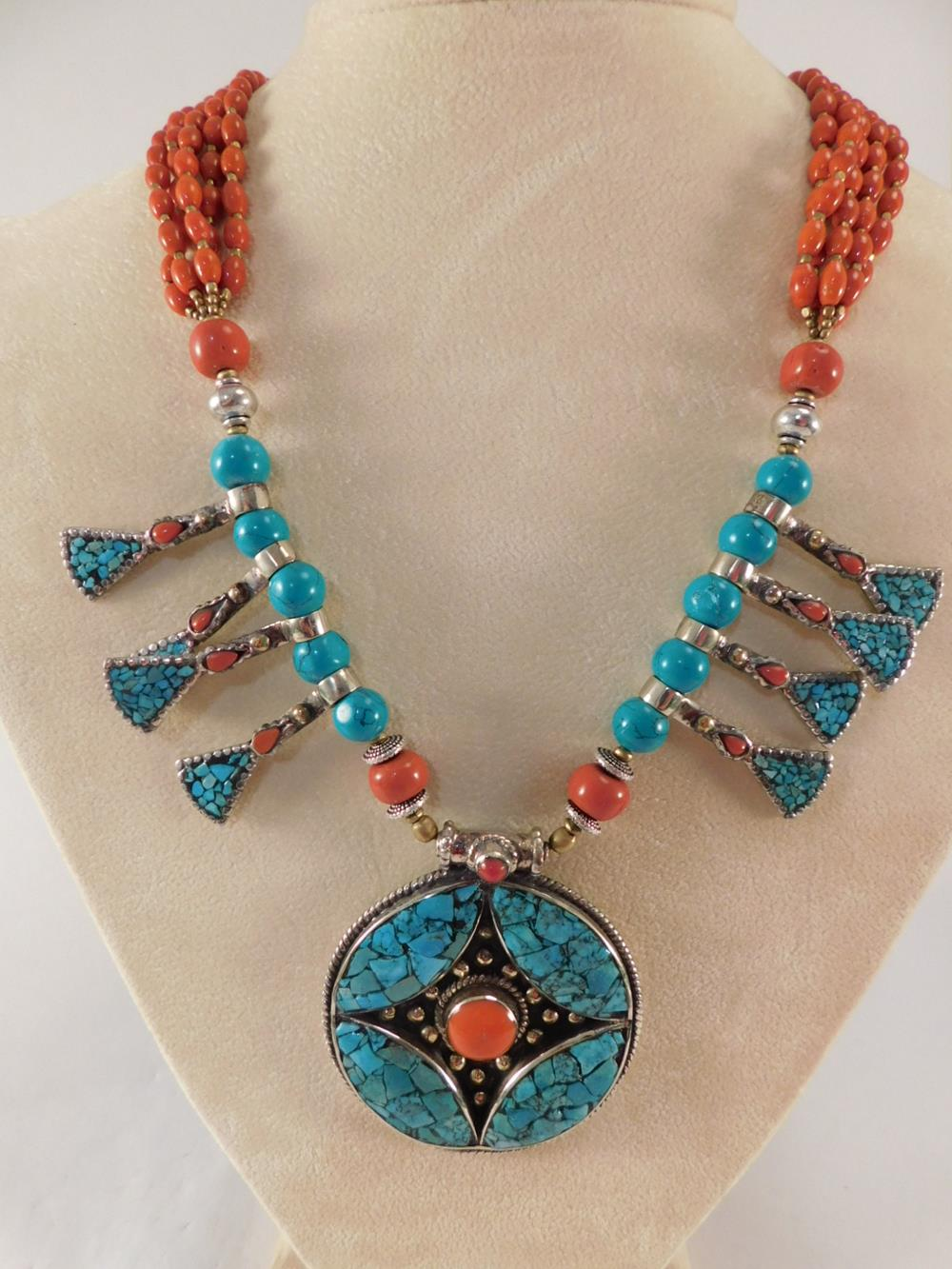 TURQUOISE AND CORAL SQUASH BLOSSOM STYLE NECKLACE NECKLACE