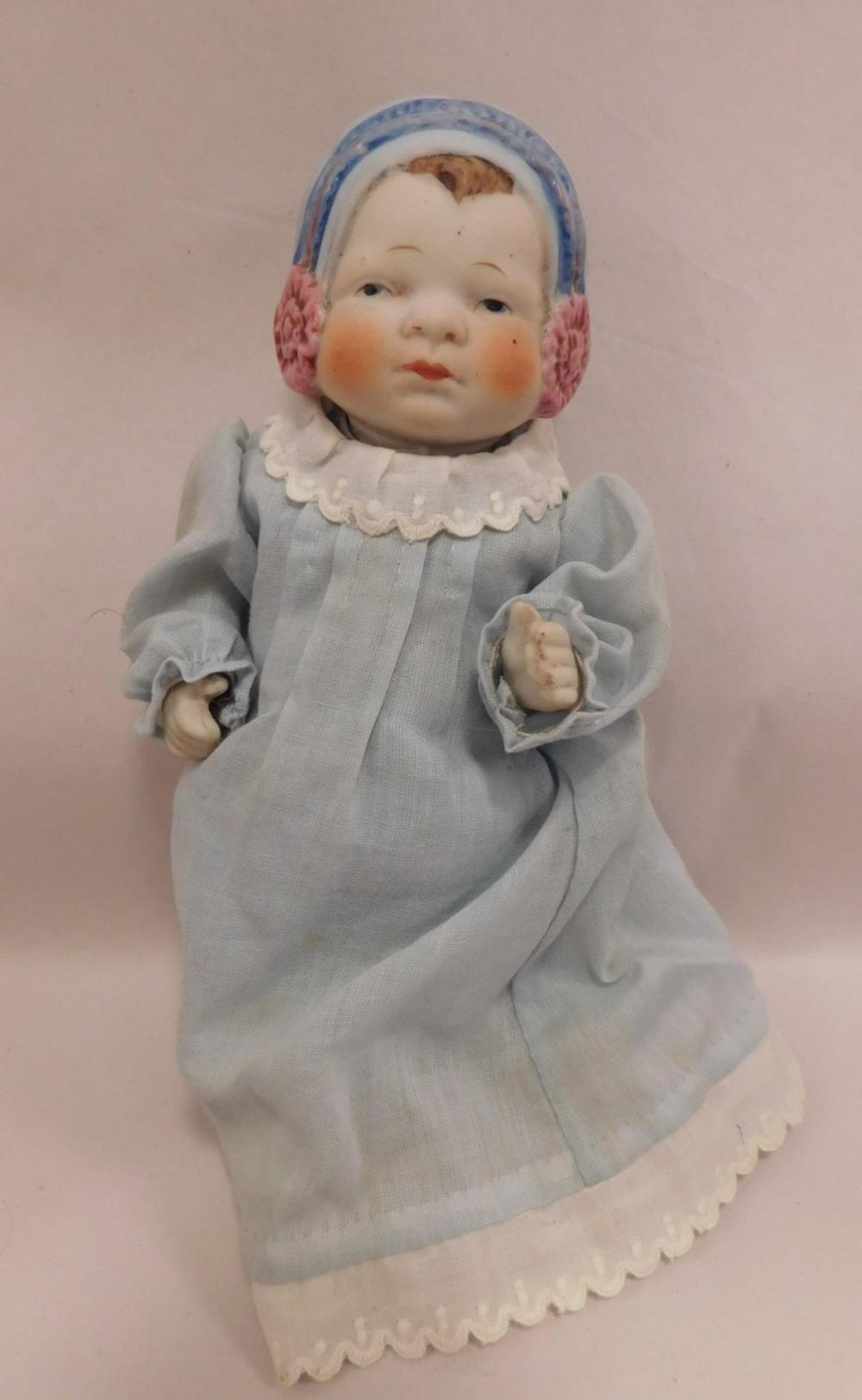 SWEET BONNET DOLL BISQUE GERMAN GERMANY VINTAGE ANTIQUE