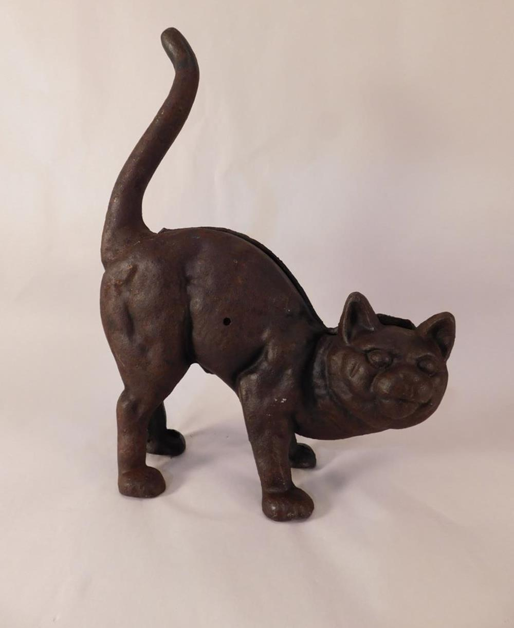 SCAREDY CAT VINTAGE CAST IRON CAT DOORSTOP HALLOWEEN ANTIQUE