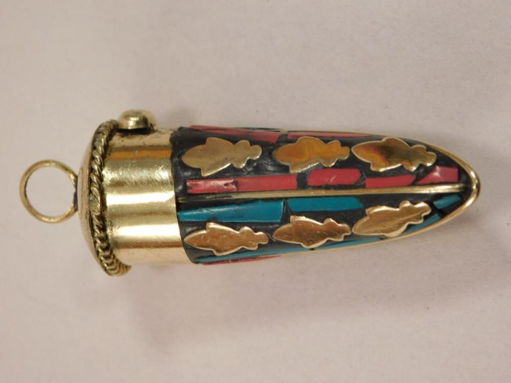 TURQUOISE AND RED CORAL HORN PENDANT
