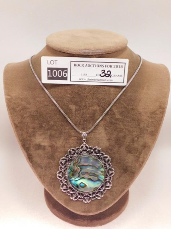 ABALONE SHELL PENDANT AND NECKLACE ROCK STONE LAPIDARY SPECIMEN(YES WE SHIP)