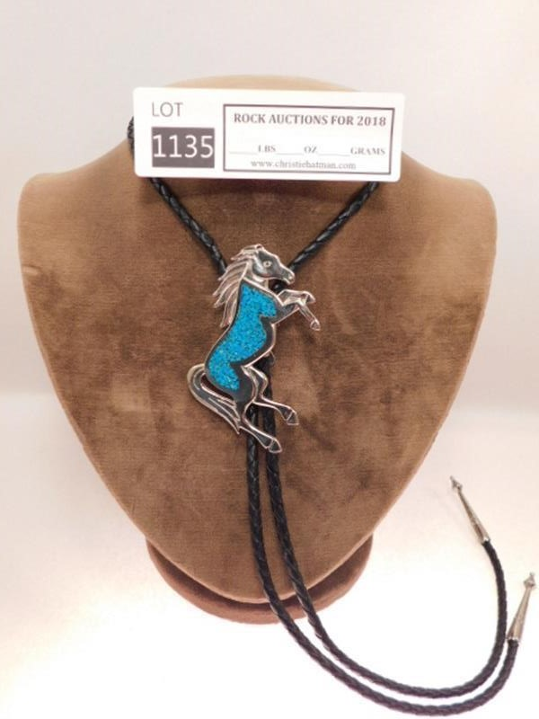 CRUSHED TURQUOISE MUSTANG BOLO TIE ROCK STONE LAPIDARY SPECIMEN(YES WE SHIP)