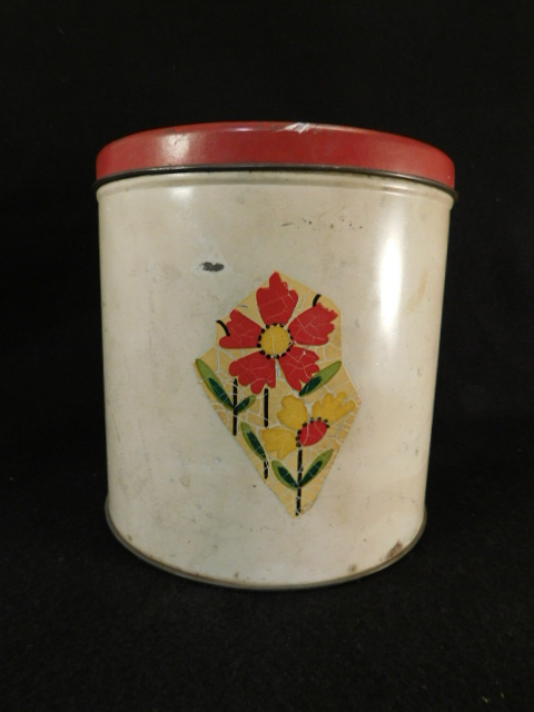 METAL CANISTER RETRO VINTAGE APPLIED FLOWERS RED WHITE (Yes, We Ship)