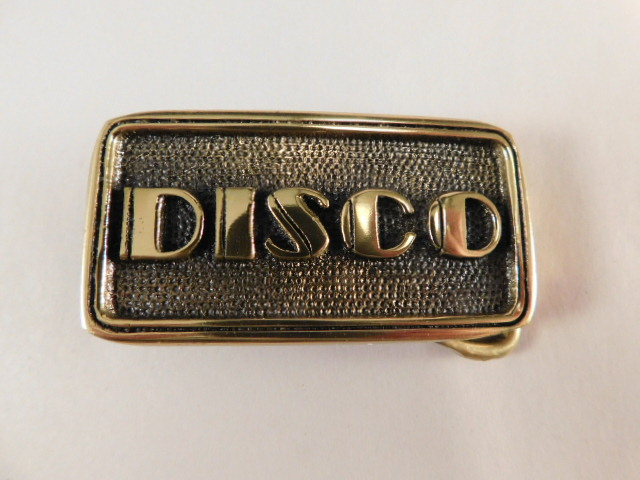 "BELT BUCKLE 1970'S SOLID BRASS VINTAGE ""DISCO"