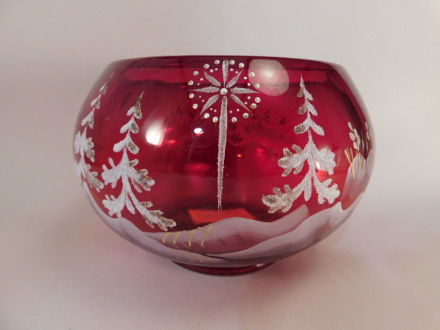 FENTON ART GLASS USA HANDPAINTED ROSEBOWL RUBY (Yes, We Ship)