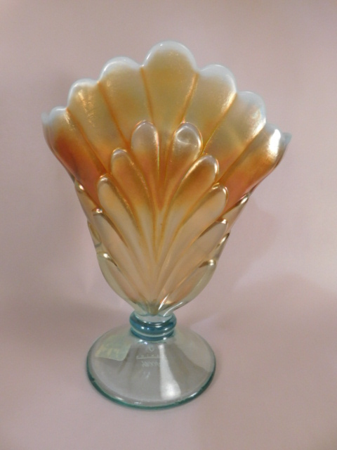 FENTON ART GLASS USA HANDPAINTED PLUME VASE AQUA MARIGOLD (Yes, We Ship)