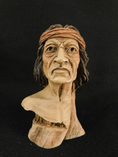 HERRERO CARVED INDIAN BUST ANASAZI